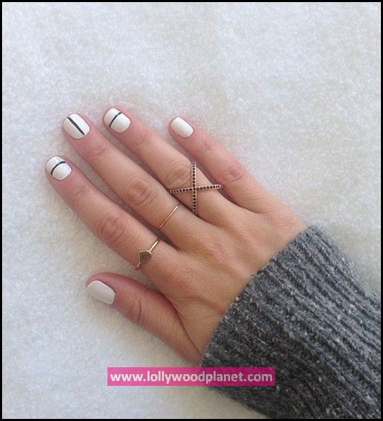 White Nails with Straight Lines