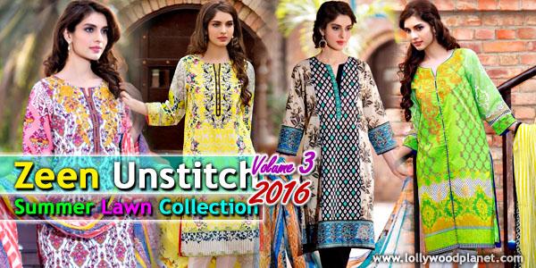 Zeen Unstitch Summer Lawn Collection 2016 Vol 3