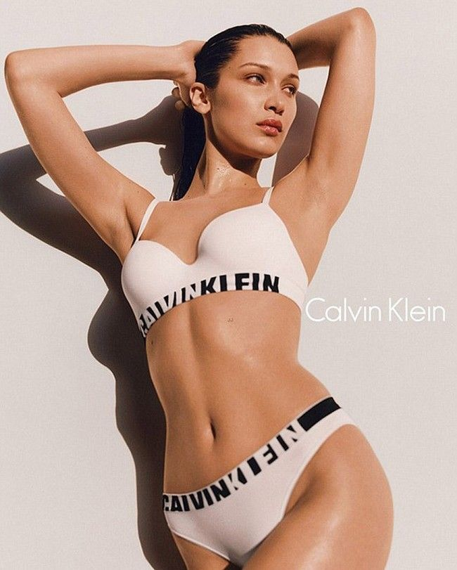 Bella Hadid poses for Calvin Klein's Fall 2016
