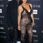 Kanye West and Kim Kardashian attend the Harper's BAZAAR Party