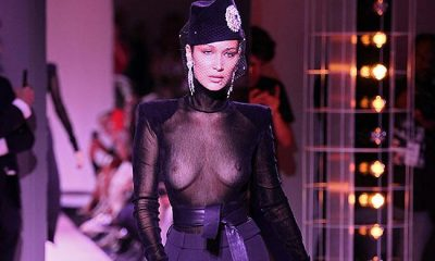 Bella Hadid Flashes Boobs on Paris Runway