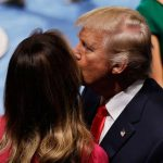 First Lady Melania Gives Donald A Cool Kiss